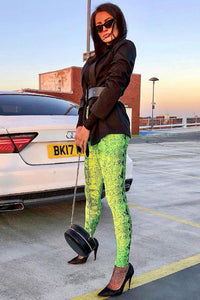 Neon Green Snake Print Leggings