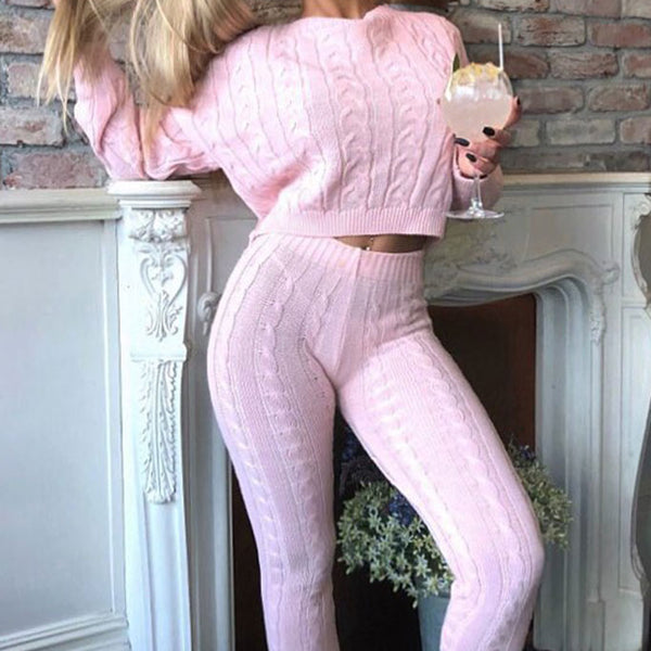 Image of Baby Pink Cable Knit Legging and Jumper Loungewear Set