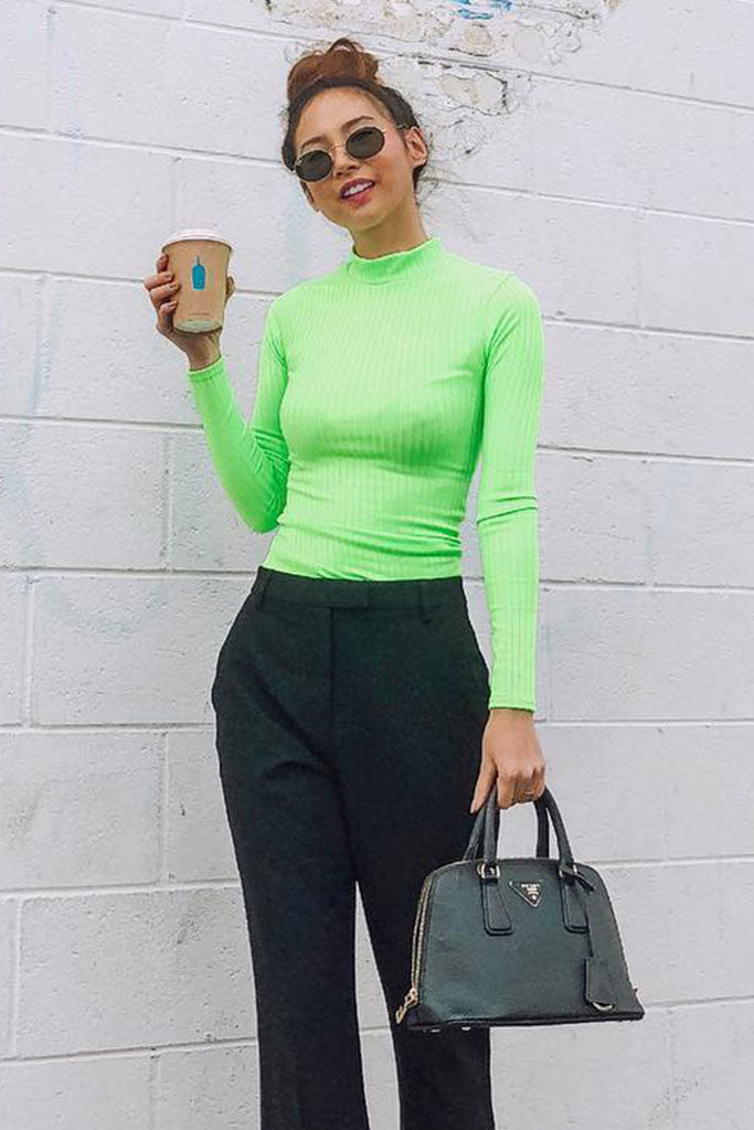 Image: Neon Green Skinny Rib Knit High Neck Top