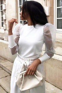 White  Sheer Organza Sleeve Knit Top