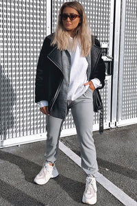 Grey  High Waisted Casual Joggers