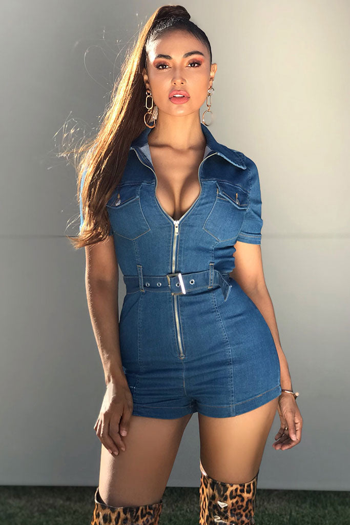 Image: Mid Blue Zip Front Short Sleeve Stretch Denim Playsuit