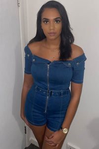 Mid Blue Bardot Denim Zip Front Self Belt Playsuit