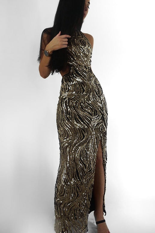 Image: Black Gold Sequin Front Cut Out Waist Maxi Dress - Parisian-uk