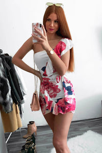 Fuschia Large Floral Frill Detail Side Tie Wrap Front Mini Dress