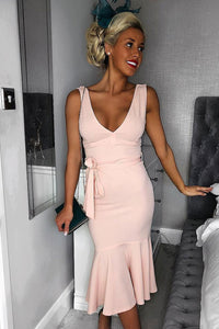 Pink Plunge Neck Waist Tie Frill Hem Midi Dress