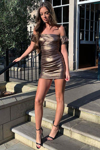 Bronze Metallic Ruching Detail Bardot Bodycon Mini Dress