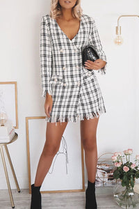 White Checked Double Breasted Patch Pocket Blazer Dress