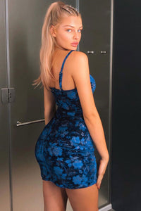 Royal Blue Floral Velvet Ruching Detail Strappy Bodycon Dress