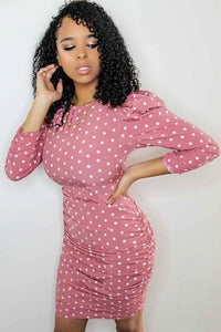 Pink Polka Dot Puff Sleeve Ruching Detail Bodycon Dress