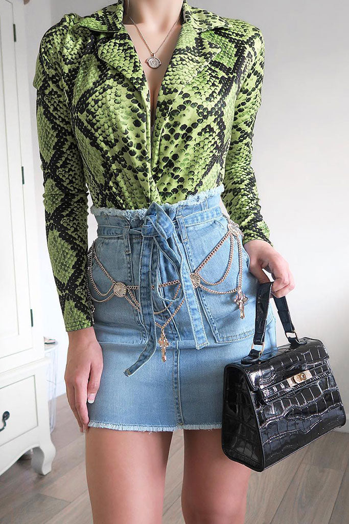 Image: Light Blue Denim Frayed Hem Paperbag Waist Mini Skirt