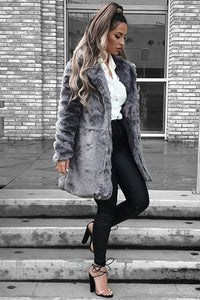 Dark Grey Faux Fur Side Pocket Coat