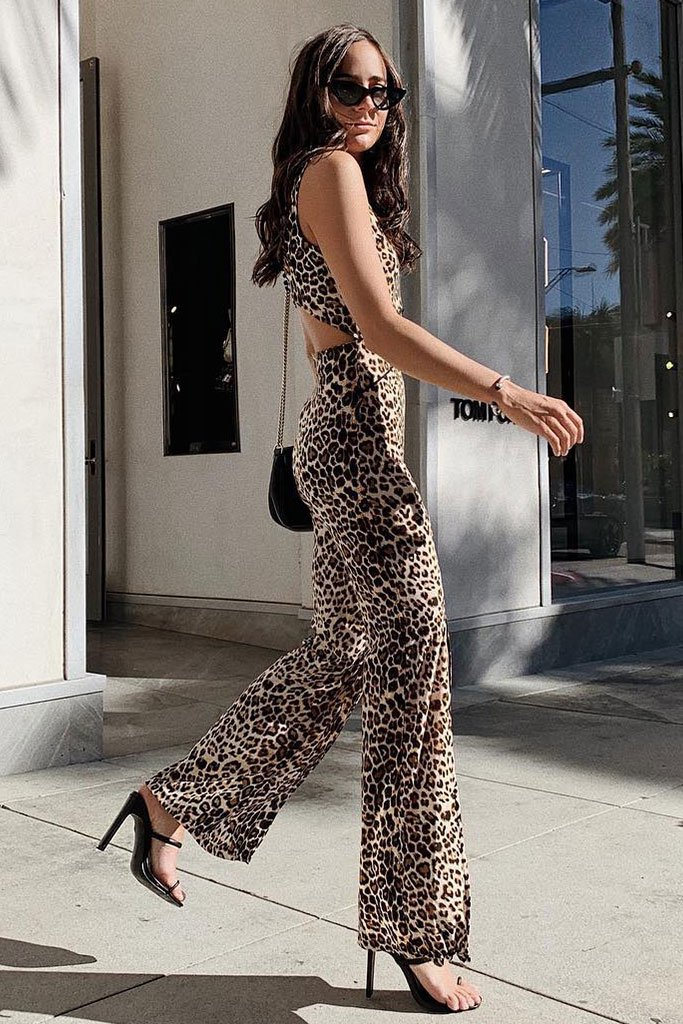Image: Brown Leopard Print Slit Detail Wide Leg Jumpsuit - Parisian-uk