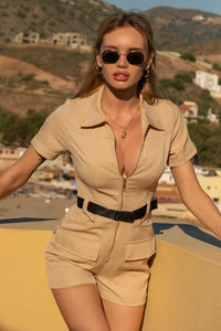 Beige Zip Front Utility Pocket Belted Playsuit