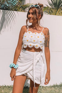 White Yellow Lace Daisy Floral Tie Strap Crop Top