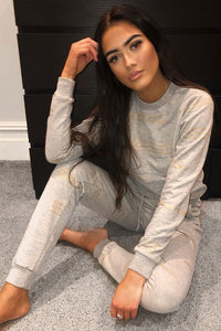 Grey Believe In Yourself Logo Print Loungewear Set - Parisian-uk