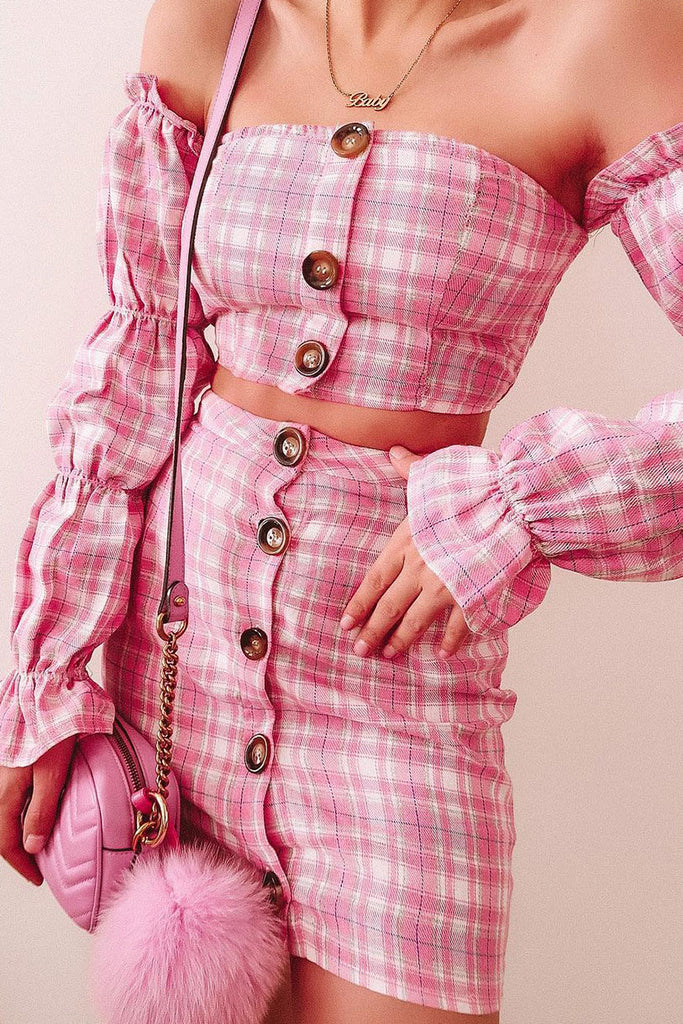 Image: Pink Checked Ruched Sleeve Button Front Bardot Top & Mini Skirt