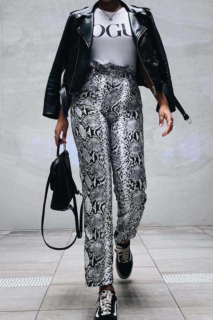 Image: Snake Print Self Belt Trousers