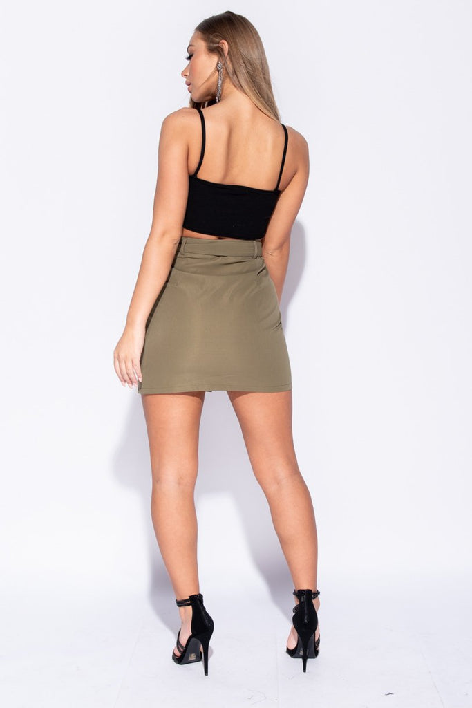 Khaki Button Front Patch Pocket Belted Mini Skirt