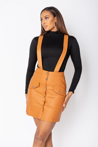 Rust Faux Leather Pinafore Dress