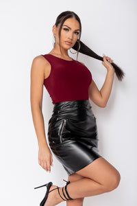 Black Zip Pocket Faux Leather Mini Skirt