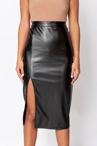Black Faux Leather Thigh Split Midi Skirt