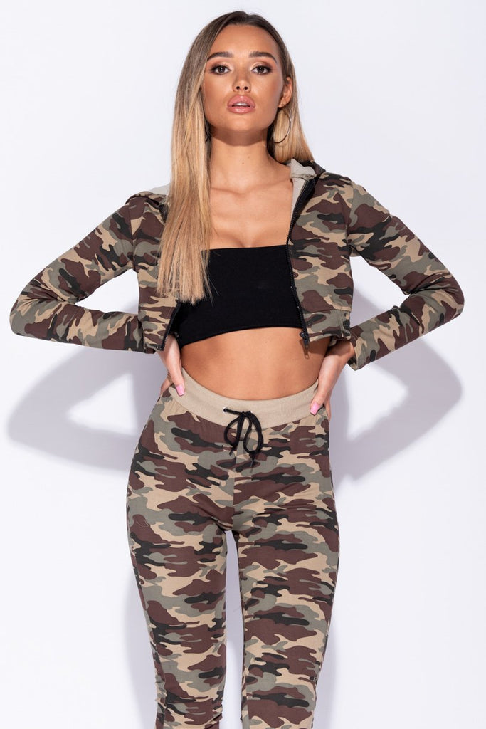 Camouflage Zip Front Hooded Cropped Lounge Set - Parisian-uk