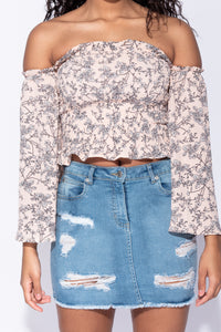 Nude Ditsy Floral Bardot Flared Sleeve Top