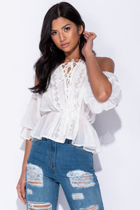 White Crochet Lace Trim Spaghetti Strap Top