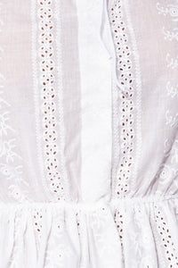 White Broderie Lace Tie Detail Frill Hem Top