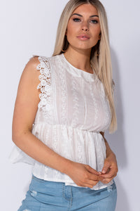 White Broderie Anglaise Lace Peplum Detail Sleeveless Top