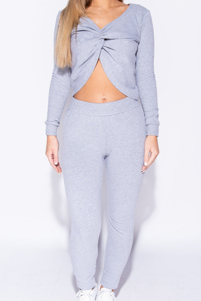 Image: Grey Twist Front Long Sleeve Top & Leggings Set