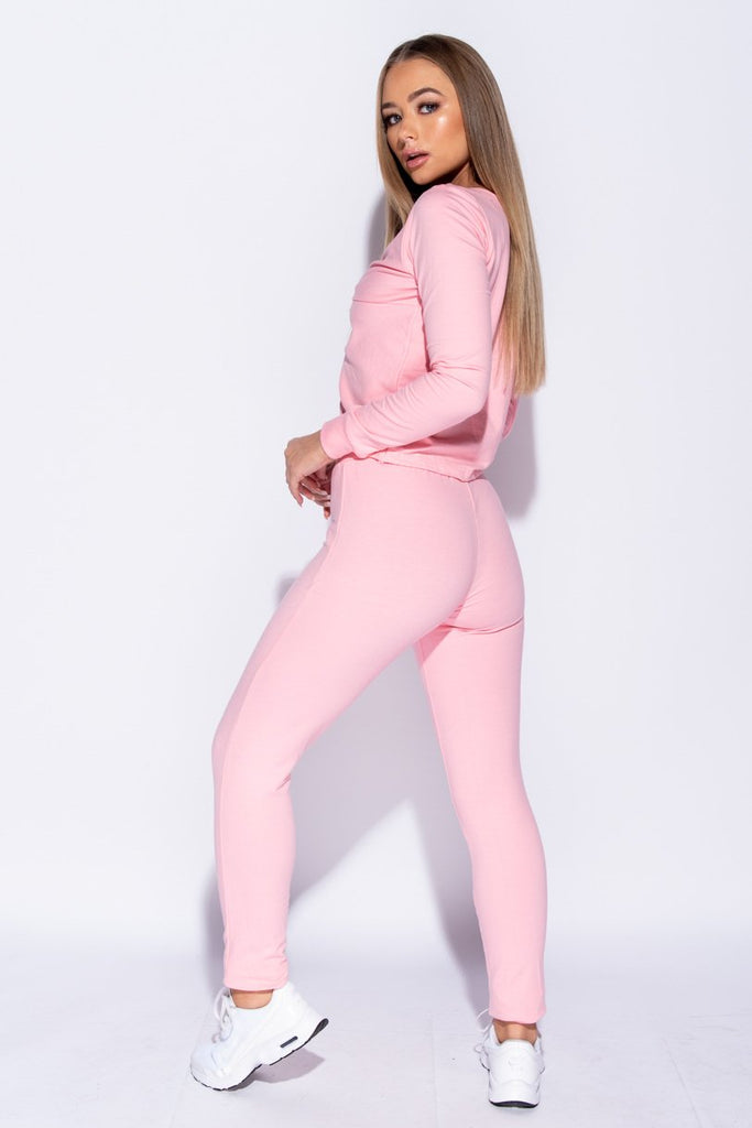 Pink Twist Front Long Sleeve Top & Leggings Set