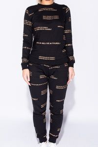 Black Believe In Yourself Logo Print Loungewear Set - Parisian-uk