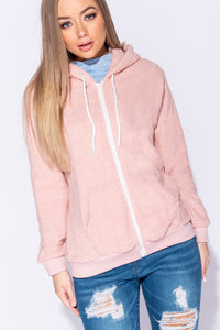 Pink Teddy Bear Fleece Zip Front Hooded Jacket