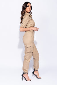 Camel Utility Button Up Crop Top