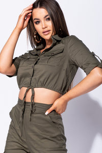 Khaki Utility Button Up Crop Top