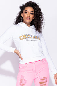 White Chicago Print Hooded Top