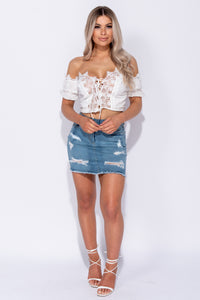 White Broderie Anglaise Lace Trim Bardot Lace Up Crop Top