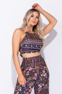 Navy Floral Printed Tie Back Crop Top & Wide Leg Trouser Co Ord Set