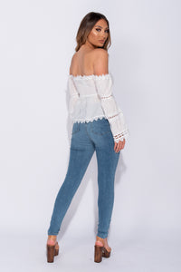 White Lace Trim Bardot Ruched Detail Top
