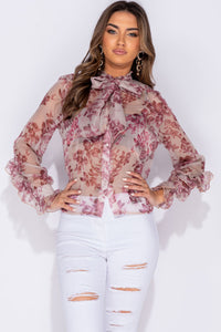 Beige Floral Print Pussy Bow Long Sleeve Blouse