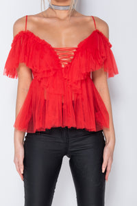 Red Sheer Mesh Tie Front Ruffle Detail Cold Shoulder Top