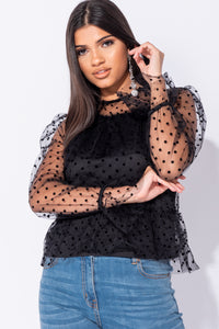Black Polka Dot Mesh Frill Detail Top
