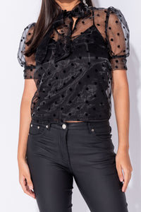 Black Polka Dot Sheer Puff Sleeve Pussybow Blouse Top