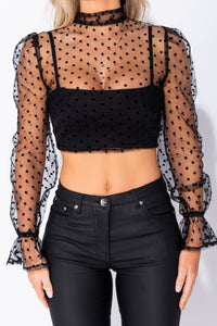 Black Polka Dot Sheer Puff Sleeve Tie Back Crop Top