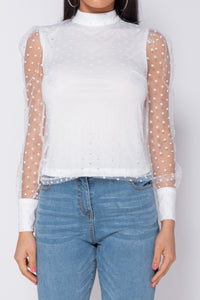 White Polka Dot Sheer Sleeve High Neck Top