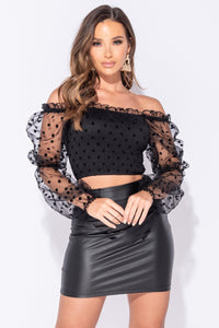 Black Polka Dot Sheer Shirring Detail Bardot Crop Top
