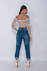 White Polka Dot Sheer Shirring Detail Bardot Crop Top