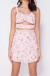 Pink Floral Print Ruched Frill Detail Lace Trim Co Ord Set